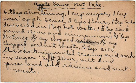 yesterdish.com » Apple Sauce Nut Cake