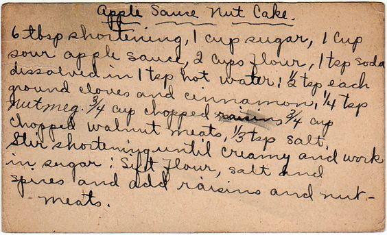 yesterdish.com » Apple Sauce Nut Cake