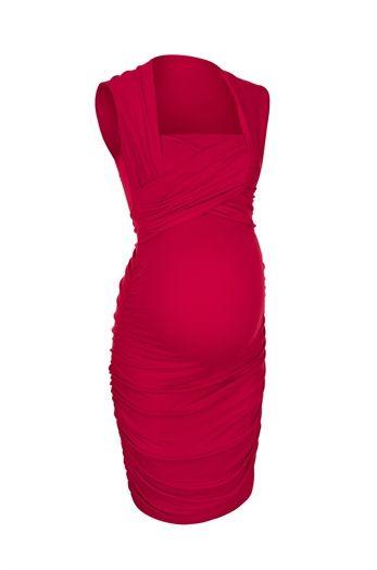 Isla | Glamorous red maternity breastfeeding dress at Bb London