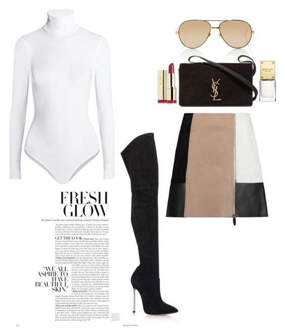 """""""Hottie"""" by pink-chick ❤ liked on Polyvore featuring Wolford, Linda Farrow, Yves Saint Laurent, Casadei, Alexander Wang, Michael Kors and Milani"""