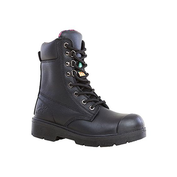 Women's Moxie Trades Anne Steel Toe Work Boot - Black Leather Ankle... ($120) ❤ liked on Polyvore featuring shoes, boots, black, steel toe boots, leather lace up boots, black leather boots, safety toe work boots y waterproof steel toe boots