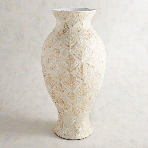 Golden Leaves Capiz Vase Vase Floor Vase Accent Pieces