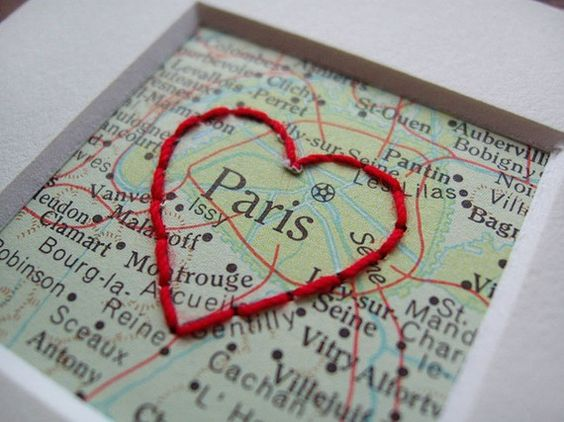 embroidered maps - these are adorable - a reminder of where you got married, engaged & so on...
