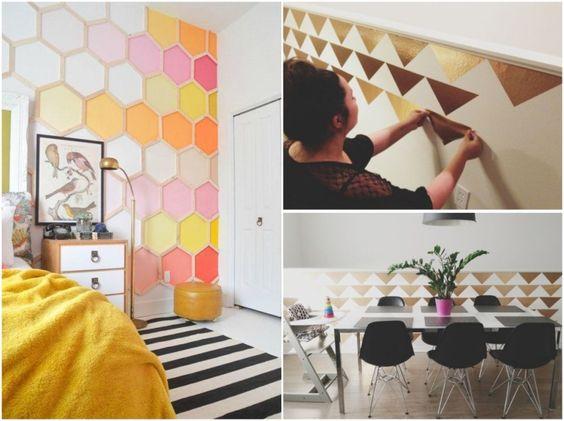 bunte Wanddekoration mit Farbe oder goldene Akzente mit Folie