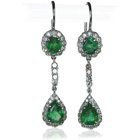Smaragd-Brilliant-Earring  Smaragd-Brillant-Ohrringe, Ohrhänger mit 2,544ct Smaragd und 1,329ct Brillanten