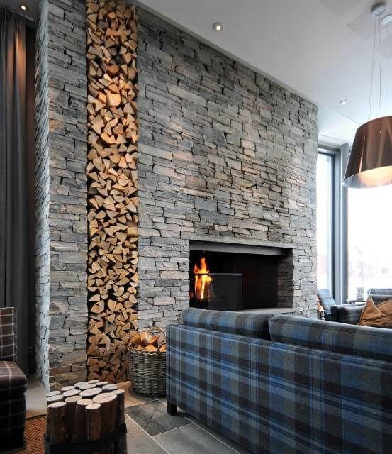As The Stone Cover Or Coating On A Structure Cladding Can Be Done Using Anything From Larg Modern Stone Fireplace Stone Wall Interior Design Stone Wall Design #tiles #living #room #wall #designs