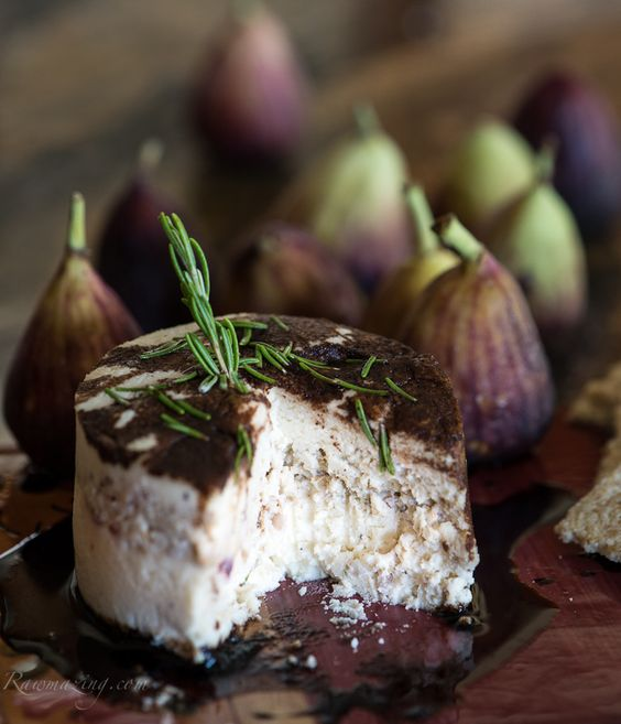 """Honey Rosemary """"Cheese"""" with Figs and a Balsamic Reduction. Completely healthy, read the recipe, it also includes macadamia  nuts. Yum!"""