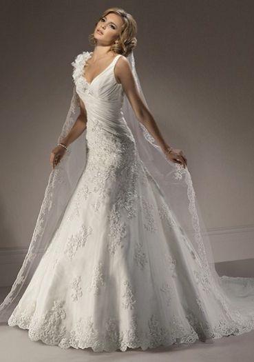 Designer Robe de mariée A-ligne bretelles V-Neck