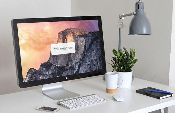 Free - Medialoot - Thunderbolt Display Presentation Mockup | medialoot.com