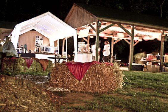 A backyard wedding ceremony & reception setup