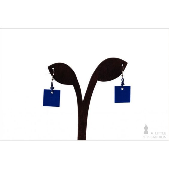 Edelstahl-Ohrringe Ohrhänger mit blauen Holzperlen - A Little Fashion