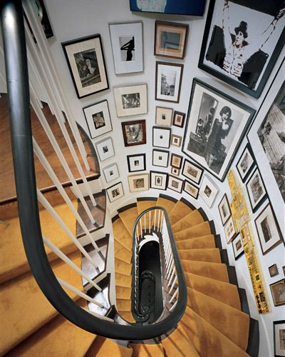 Lots of awesome stairwell wall art inspiration!