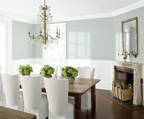 dining room with Benjamin Moore Quiet Moments paint color on walls