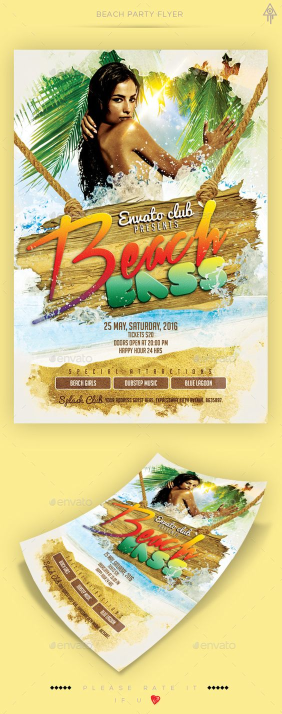 Beach Party Flyer Template PSD. Download here: http://graphicriver.net/item/beach-party-flyer/15688716?ref=ksioks