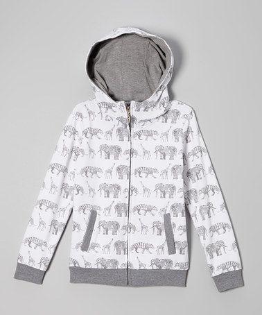 this White Animal Print Zip-Up Hoodie -  by Kana