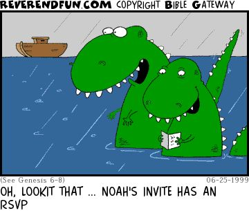 DESCRIPTION: Two dinosaurs reading an invite and looking at the ark CAPTION: OH, LOOKIT THAT ... NOAH'S INVITE HAS AN RSVP: