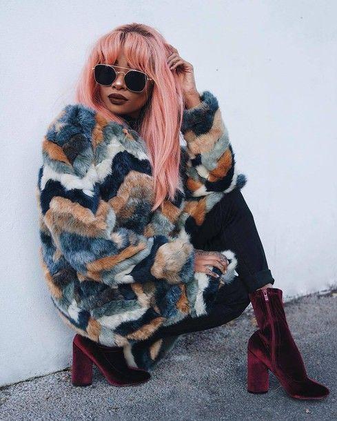 Coat: tumblr multicolor fur fur faux fur denim jeans black jeans boots velvet velvet shoes velvet