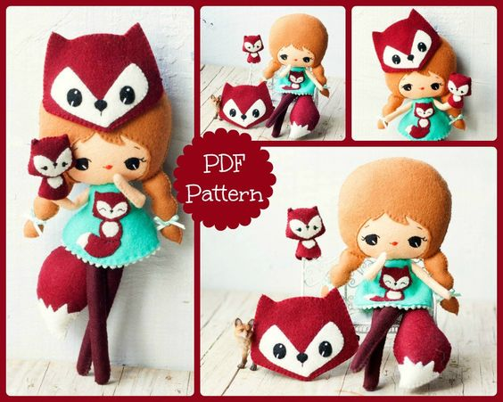 PDF. Fox girl with mask and puppet .Plush Doll Pattern door Noialand, $7,00