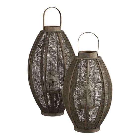 Linen and cork wood lanterns