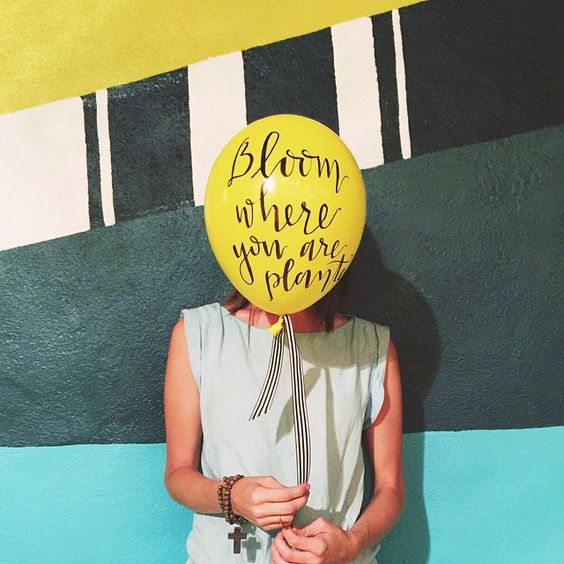 Bloom Where You Are Planted, Colorful Wall Art, Yellow Balloon with a Black & White Striped Ribbon // via joannawaterfall