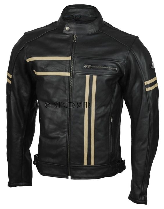Details about Mens Real Leather Black Motorbike Racing Jacket