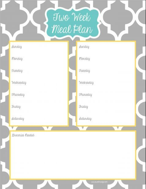 Two week meal planner free printable free printables for Two week meal plan template
