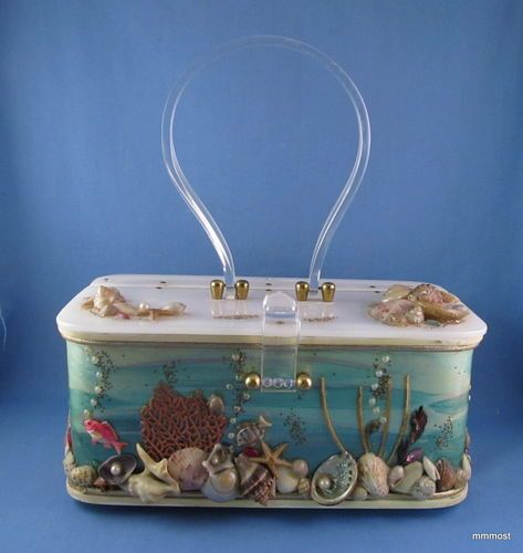 1950s LUCITE BOX PURSE Midas of Miami Under the Sea Shell & Fish Theme