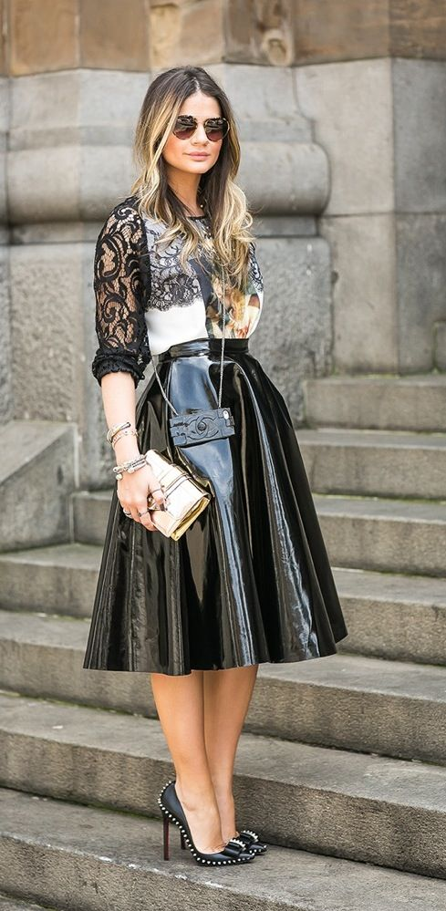 Shiny leather skirt | Shiny, Laque, PU, PVC, Plastic | Pinterest ...