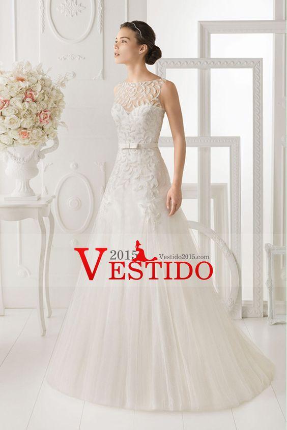 2014 de cuello alto con cuentas blusa Vestido tubo / columna de boda con la falda de Tulle