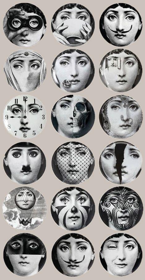 Fils and design on pinterest - Fornasetti faces wallpaper ...