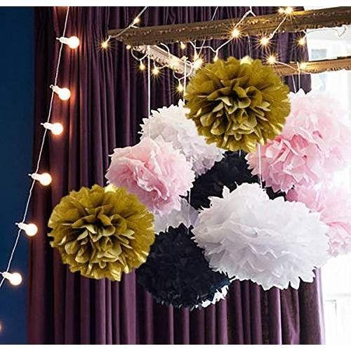 16pcs Tissue Paper Pom Pom White Pink Gold Black Paper Flower Ball