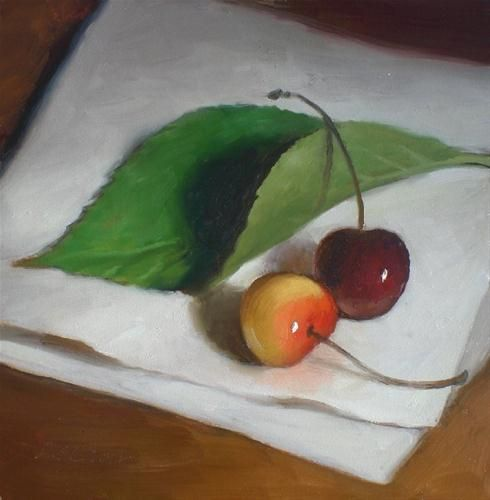 """Cherries and Leaf"" - Original Fine Art for Sale - © Debra Becks Cooper"