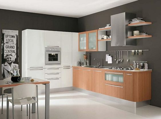 Modern White Wood Kitchen Cabinets Simple Design 6 On Living Room ...