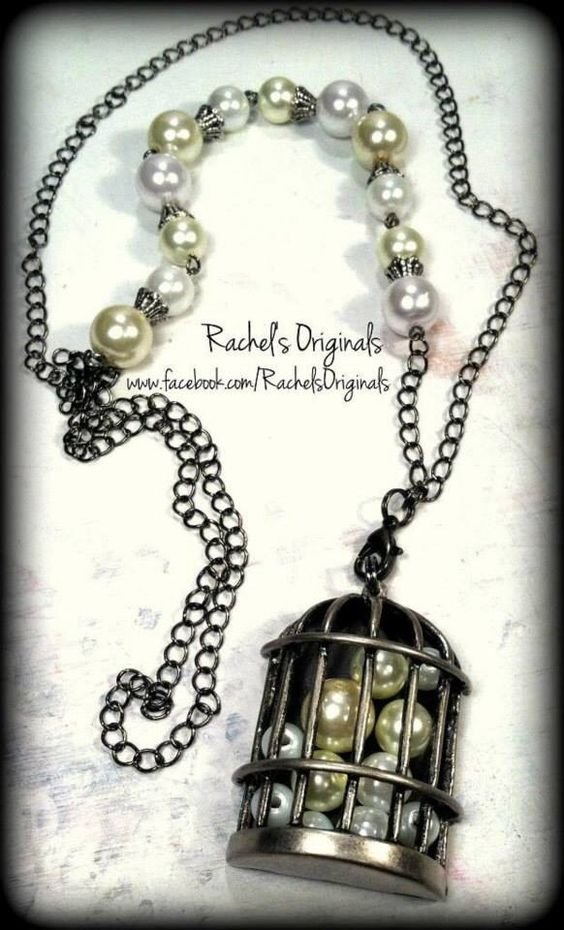 """Caged Pearls"" Necklace  *The chain is made from soldered links & is accented by both white & cream colored glass pearl beads*  Design & Handcrafted by Rachel's Originals: Jewelry So Adorable It's ADORNable  TO ORDER: Please visit my FB and/or Esty pages at the following links!   www.facebook.com/RachelsOriginals  www.rachelsoriginalgifts.etsy.com"