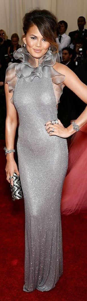 Chrissy Teigen in Ralph Lauren - 2014 Met Gala Red Carpet