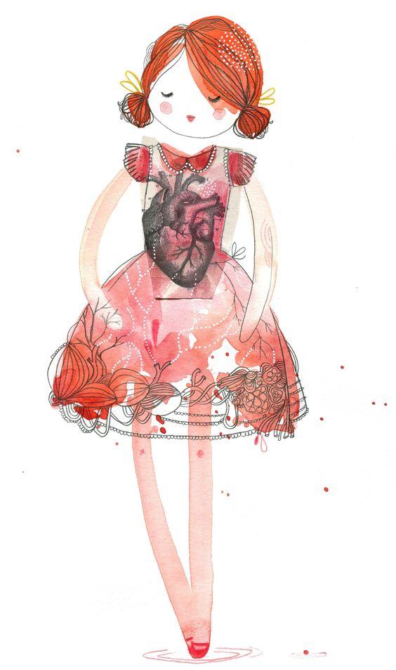 doll robe coeur, aquarelle, Cécile Hudrisier
