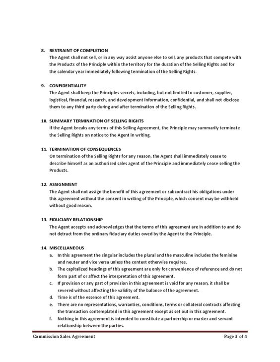 Commission Sales Agreement BUsiness Pinterest Free printable - assignment agreement