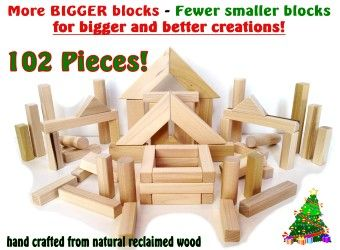 LOWEST PRICE on Etsy  102 Piece Set  Natural - wood blocks, eco friendly craft for kids