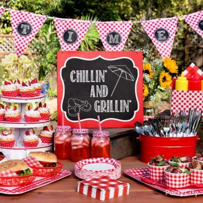 Perfect stuff for our rehearsal picnic. Gingham Picnic Food and Drink Ideas - Party City