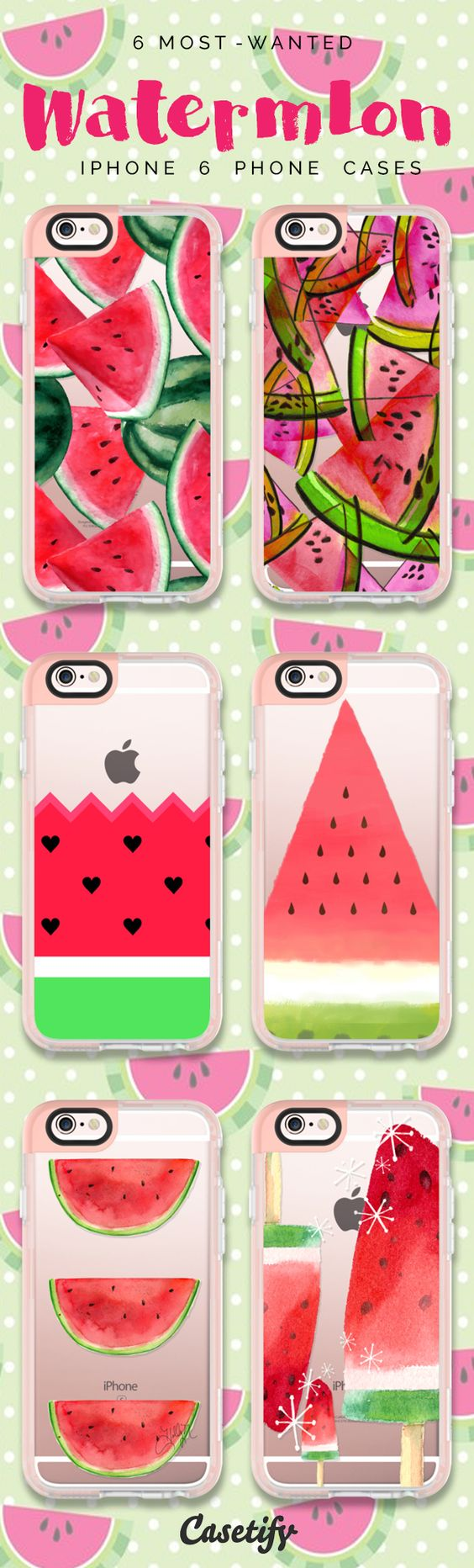 Top 6 Watermelon iPhone 6 protective phone case designs | Click through to see more iPhone phone case idea. Don't the seeds stop your from enjoying the watermelon! >>> https://www.casetify.com/collections/iphone-6s-swan-cases#/?device=iphone-6s | @casetify