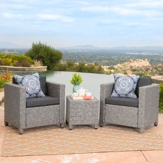 Shop Puerta Outdoor 3-piece Wicker Seating Set with Cushions by Christopher Knight Home - On Sale - Free Shipping Today - Overstock - 15631273