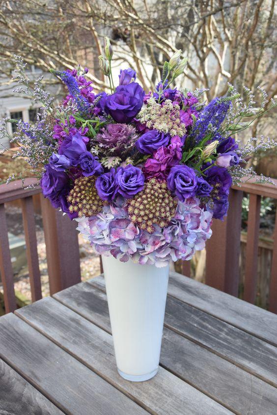Tall Birthday Flower Bouquet Of Purples Flower Arrangements Flower Delivery Birthday Flowers Bouquet