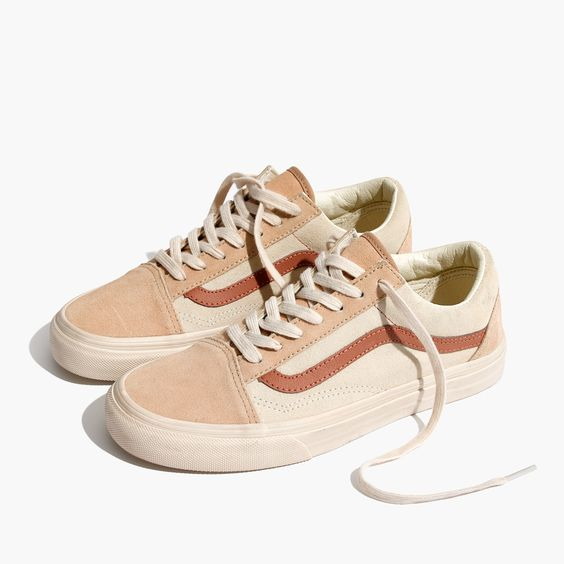 Madewell Womens X Vans Unisex Old Skool Lace-Up Sneakers In Camel Colorblock