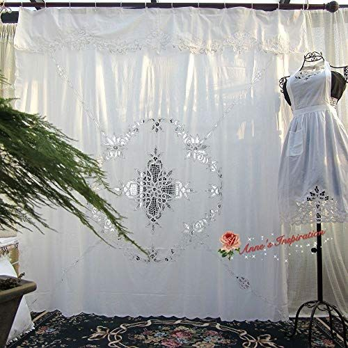 Fidgetfidget Stunning Battenburg Lace Bathe Curtain B White Cotton 72 X72 Elegant Life Shower Curtains Panels