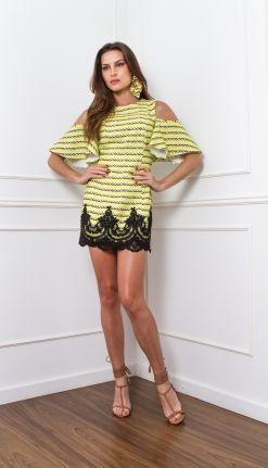 VESTIDO CORDAS MANGA BABADO - VE21989-SO | Skazi, Moda feminina, roupa casual…