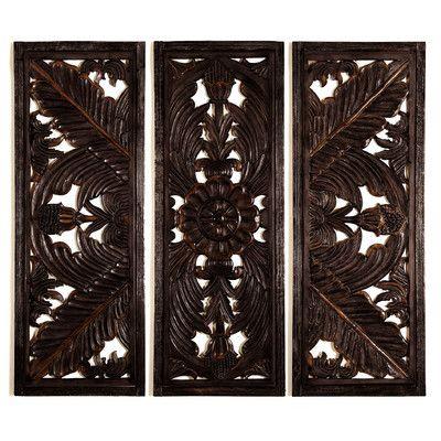 Woodland Imports 3 Piece Wooden Wall Décor Set & Reviews | Wayfair