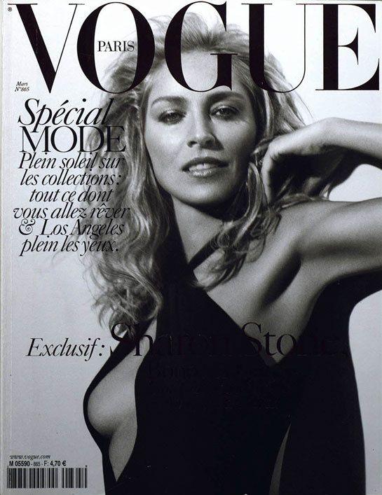 Sharon Stone pour le numéro de mars 2006 de Vogue Paris: http://www.vogue.fr/photo/les-couvertures-de/diaporama/le-cinema-en-couverture-de-vogue-paris/7774/image/517049#sharon-stone-pour-le-numero-de-mars-2006-de-vogue-paris