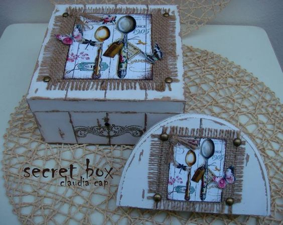 Secret Box Falso Ripado Painting Decoupage Pintura Pinterest