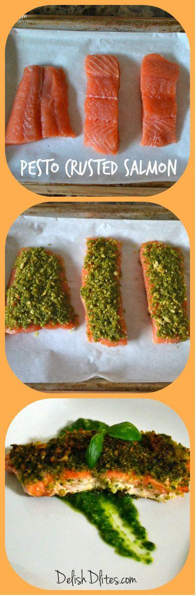 Crusted salmon pesto and salmon on pinterest for Pesto fish recipes