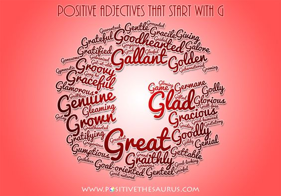 Positive Adjectives That Start With G Positive Adjectives List